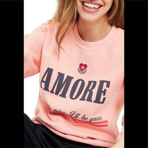 Topshop Embroidered Amore Sweatshirt